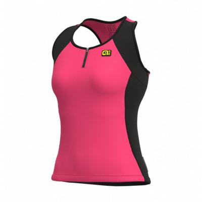 Letní cyklistický dres dámský Alé SOLID Color Block Lady růžový