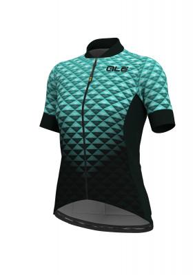 Letní cyklistický dres dámský Alé SOLID Hexa women černá/tyrkysová