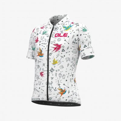 Letní cyklistický dres dětský Alé Bimbo KID Versilia bíly