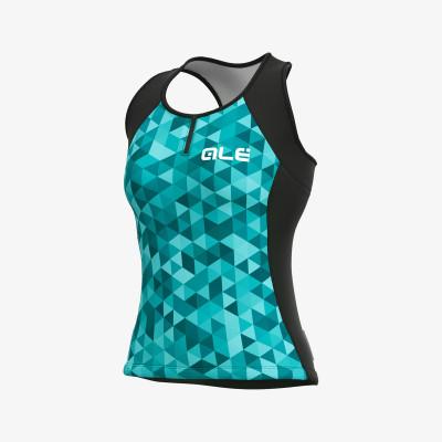Letní cyklistický dres dámský Alé SOLID Triangles Lady modrý