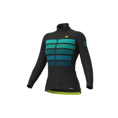 Zateplený cyklistický dres dámský Alé PR-R Somra Wool Thermo černý/zelený