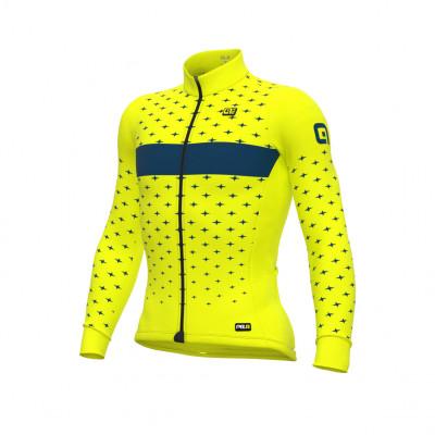 Zateplený cyklistický dres ALÉ pánský PR-R  STARS žlutý/modrý