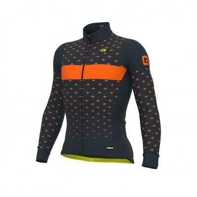 Zateplený cyklistický dres pánský Alé PR-R  STARS černý/oranžový