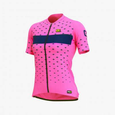 Letní cyklistický dres dámský Alé GRAPHICS PRR Stars Lady růžový/modrý