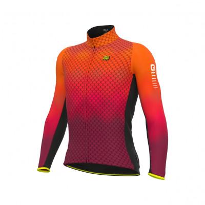 Zateplený cyklistický dres pánský ALÉ R-EV1 CLIMA PROTECTION 2.0 VELOCITY WIND G+ oranžový