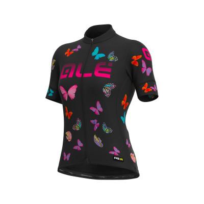 Letní cyklistický dres dámský ALÉ PRR BUTTERFLY LADY černý