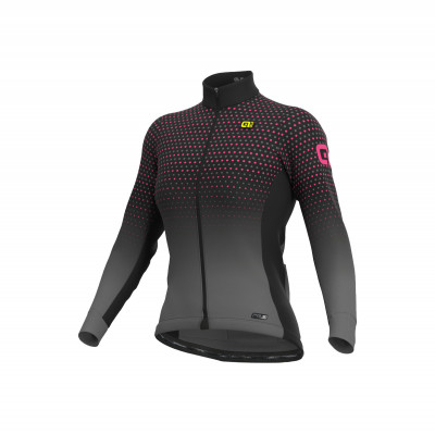 Zateplený zimný cyklistický dres dámský Alé PRS Bullet Micro Lady šedý/růžový