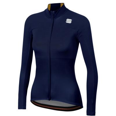 Zateplený cyklistický dres dámský Sportful BodyFit Pro Thermal modrý/zlatý